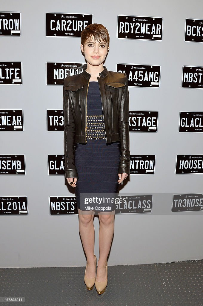 Actress Sami Gayle attends the MercedesBenz Star Lounge during MercedesBenz Fashion Week Fall 2014 at Lincoln Center on February 8 2014 in New York...
