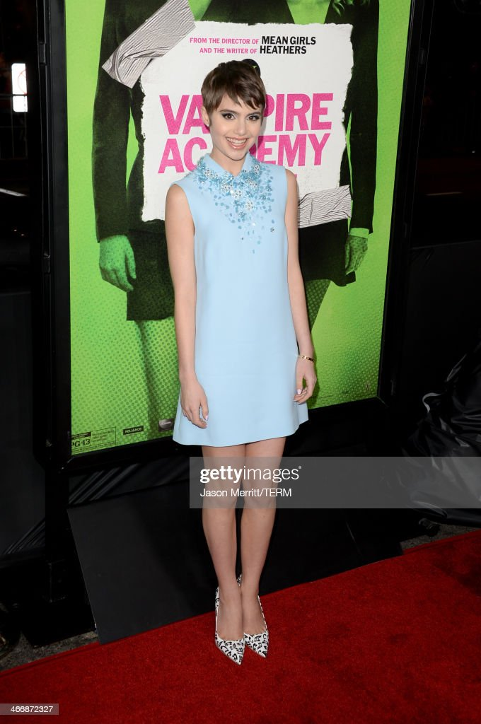 Actress <a gi-track='captionPersonalityLinkClicked' href=/galleries/search?phrase=Sami+Gayle&family=editorial&specificpeople=5053940 ng-click='$event.stopPropagation()'>Sami Gayle</a> attends the premiere of The Weinstein Company's 'Vampire Academy' at Regal Cinemas L.A. Live on February 4, 2014 in Los Angeles, California.