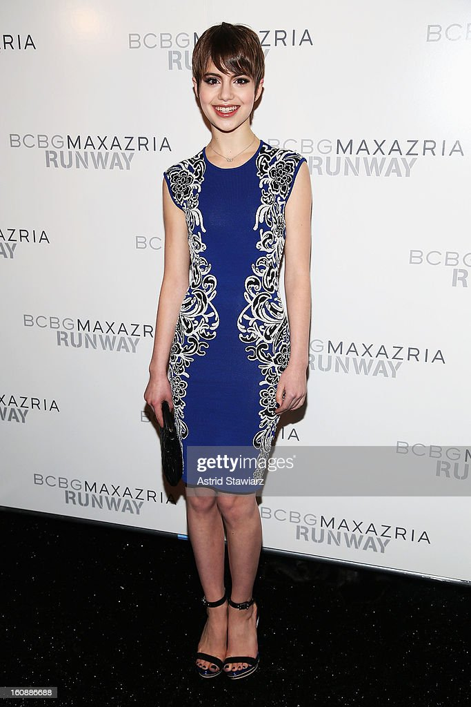Actress Sami Gayle poses backstage at the BCBGMAXAZRIA Fall 2013 fashion show during Mercedes-Benz Fashion Week at The Theatre at Lincoln Center on February 7, 2013 in New York City.