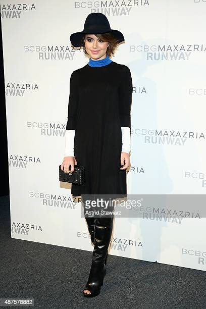 Actress Sami Gayle poses backstage at the BCBGMAXAZRIA fashion show during Spring 2016 New York Fashion Week The Shows at The Arc Skylight at...