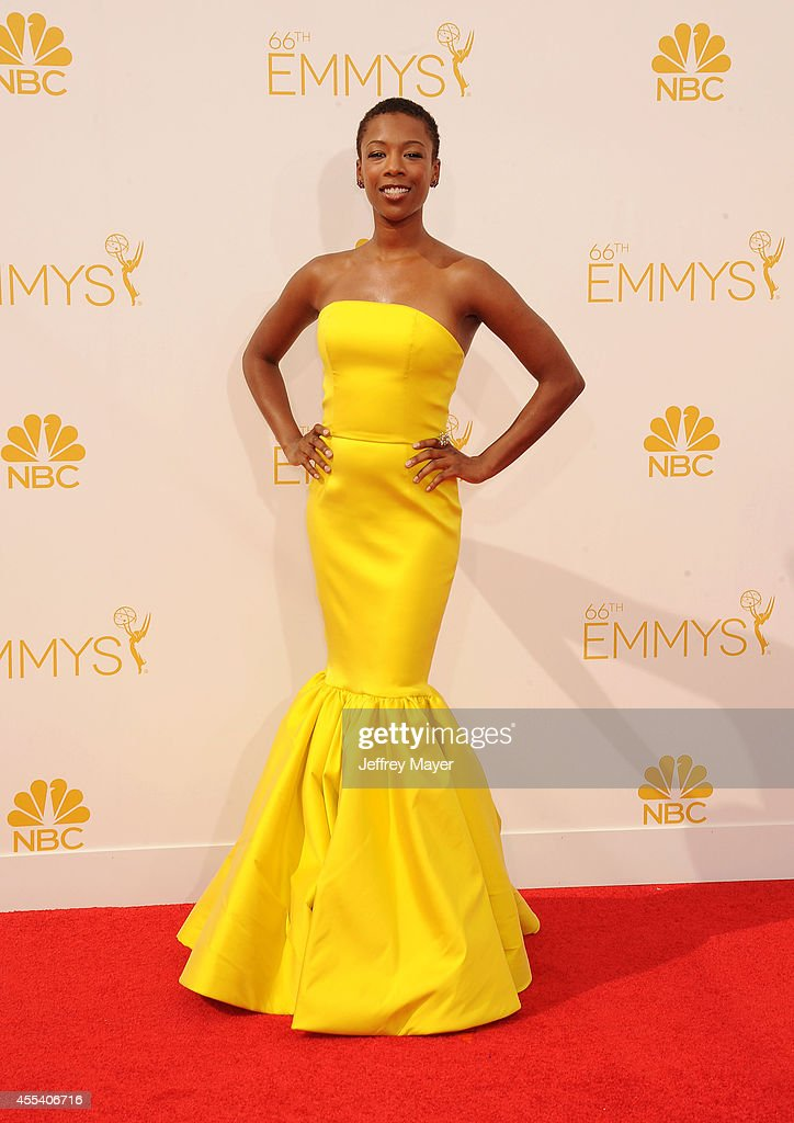 Actress <a gi-track='captionPersonalityLinkClicked' href=/galleries/search?phrase=Samira+Wiley&family=editorial&specificpeople=10947919 ng-click='$event.stopPropagation()'>Samira Wiley</a> arrives at the 66th Annual Primetime Emmy Awards at Nokia Theatre L.A. Live on August 25, 2014 in Los Angeles, California.