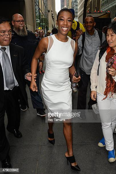 Actress Samira Wiley leaves the 'Today Show' taping at the NBC Rockefeller Center Studios on June 29 2015 in New York City