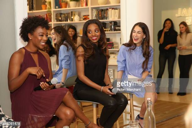 Actress Samira Wiley Women's March National CoChair Tamika Mallory and cofounder at The Wing Audrey Gelman speak on a panel during a VIP screening of...