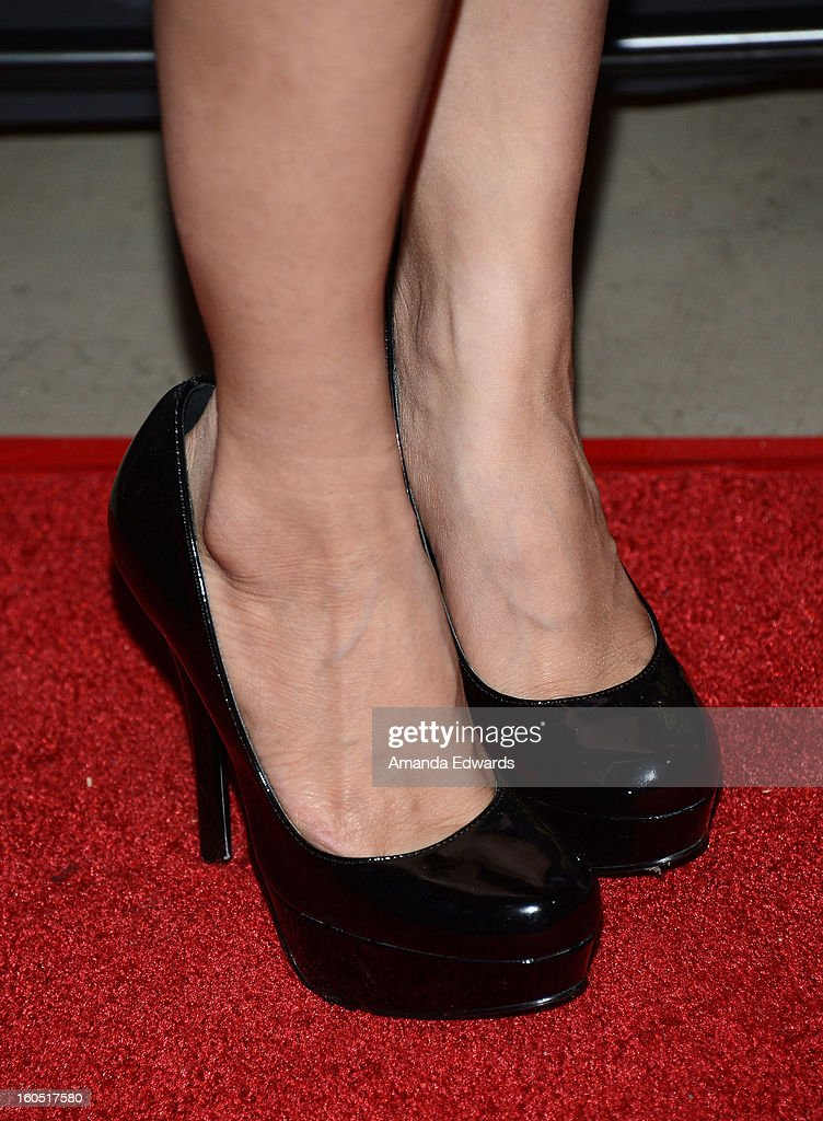 Actress Sammy Durrani (shoe detail) arrives at the Los Angeles Premiere of 'The Devil's Dozen' at Mann's Chinese 6 Theatres on February 1, 2013 in Hollywood, California.