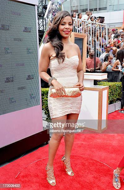 Actress Sanaa Lathan attends the PG Red Carpet Style Stage at the 2013 BET Awards at Nokia Theatre LA Live on June 30 2013 in Los Angeles California