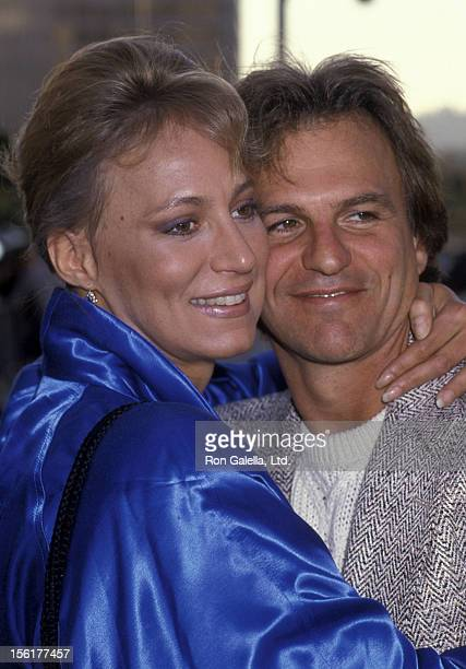Actress Sandahl Bergman and Josh Taylor attend NBC TV Affiliates Party on May 12 1985 at the Century Plaza Hotel in Century City California