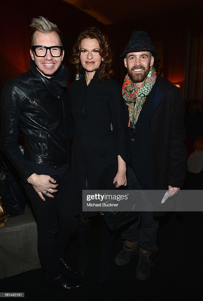 Actress <a gi-track='captionPersonalityLinkClicked' href=/galleries/search?phrase=Sandra+Bernhard&family=editorial&specificpeople=204693 ng-click='$event.stopPropagation()'>Sandra Bernhard</a> (center) and guests attends the Mercedes-Benz Start Lounge at Lincoln Center on February 10, 2013 in New York City.