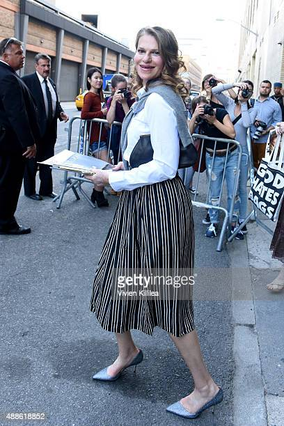 Actress Sandra Bernhard is seen leaving the JCrew presentation during New York Fashion Week The Shows at Skylight Clarkson Sq on September 16 2015 in...