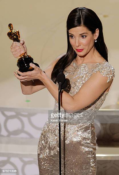 Actress Sandra Bullock accepts Best Actress award for 'The Blind Side' onstage during the 82nd Annual Academy Awards held at Kodak Theatre on March 7...