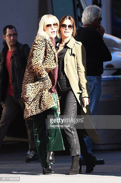 Actress Sandra Bullock and Cate Blanchett are seen on the set of 'Ocean's Eight' on October 24 2016 in New York City
