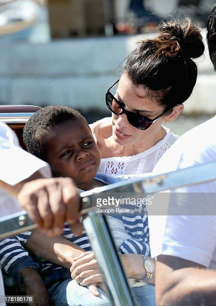 Actress Sandra Bullock and son Louis Bardo Bullock is seen during the 70th Venice International Film Festival on August 27 2013 in Venice Italy