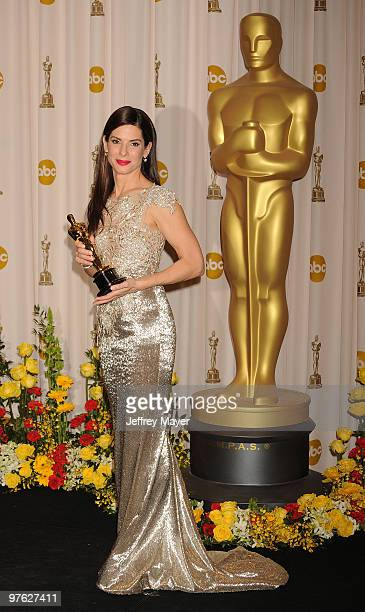 Actress Sandra Bullock and winner Best Actress award for 'The Blind Side' poses in the press room at the 82nd Annual Academy Awards at the Kodak...
