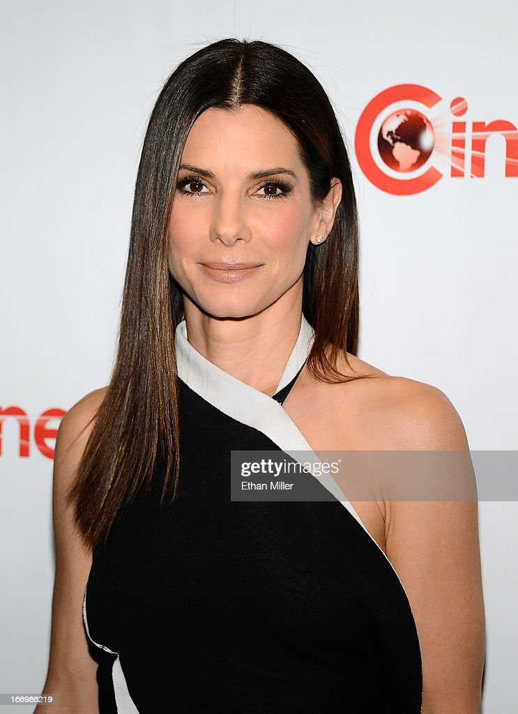 Actress <a gi-track='captionPersonalityLinkClicked' href=/galleries/search?phrase=Sandra+Bullock&family=editorial&specificpeople=202248 ng-click='$event.stopPropagation()'>Sandra Bullock</a> arrives at a Twentieth Century Fox presentation to promote the upcoming film 'The Heat' at Caesars Palace during CinemaCon, the official convention of the National Association of Theatre Owners, on April 18, 2013 in Las Vegas, Nevada.