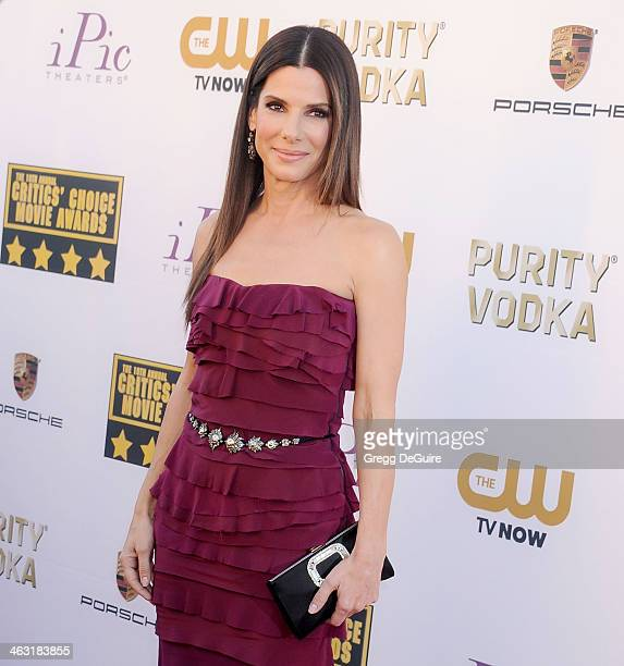 Actress Sandra Bullock arrives at the 19th Annual Critics' Choice Movie Awards at Barker Hangar on January 16 2014 in Santa Monica California