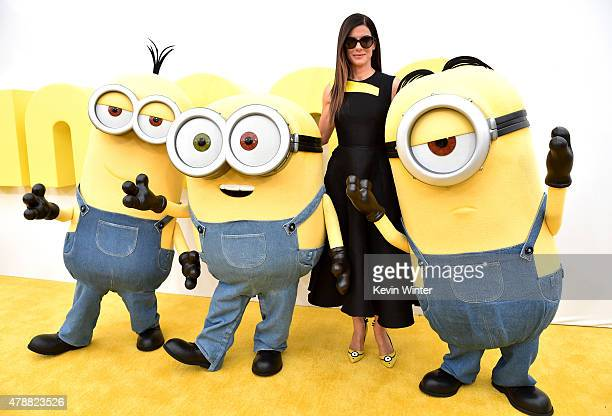 Actress Sandra Bullock arrives at the premiere of Universal Pictures and Illumination Entertainment's 'Minions' at the Shrine Auditorium on June 27...