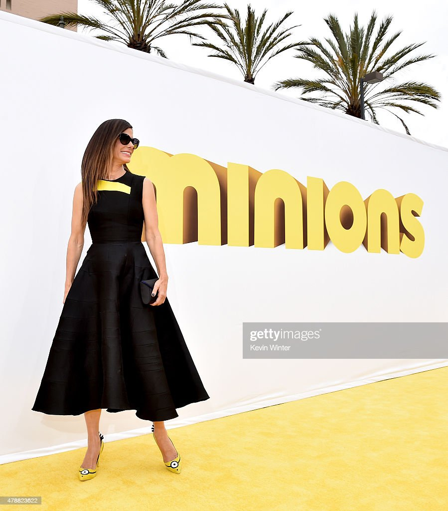 Actress <a gi-track='captionPersonalityLinkClicked' href=/galleries/search?phrase=Sandra+Bullock&family=editorial&specificpeople=202248 ng-click='$event.stopPropagation()'>Sandra Bullock</a> arrives at the premiere of Universal Pictures and Illumination Entertainment's 'Minions' at the Shrine Auditorium on June 27, 2015 in Los Angeles, California.