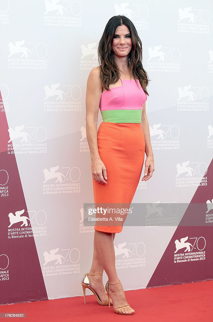 Actress <a gi-track='captionPersonalityLinkClicked' href=/galleries/search?phrase=Sandra+Bullock&family=editorial&specificpeople=202248 ng-click='$event.stopPropagation()'>Sandra Bullock</a> attends 'Gravity' Photocall during the 70th Venice International Film Festival at the Casino on August 28, 2013 in Venice, Italy.