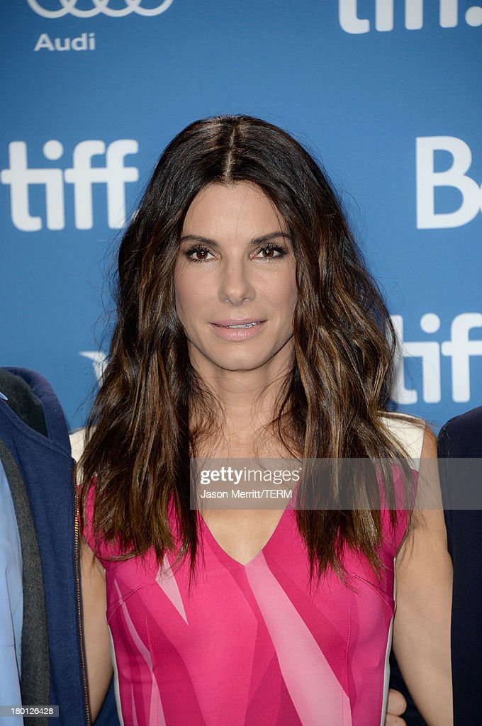Actress <a gi-track='captionPersonalityLinkClicked' href=/galleries/search?phrase=Sandra+Bullock&family=editorial&specificpeople=202248 ng-click='$event.stopPropagation()'>Sandra Bullock</a> attends 'Gravity' Press Conference during the 2013 Toronto International Film Festival at TIFF Bell Lightbox on September 9, 2013 in Toronto, Canada.