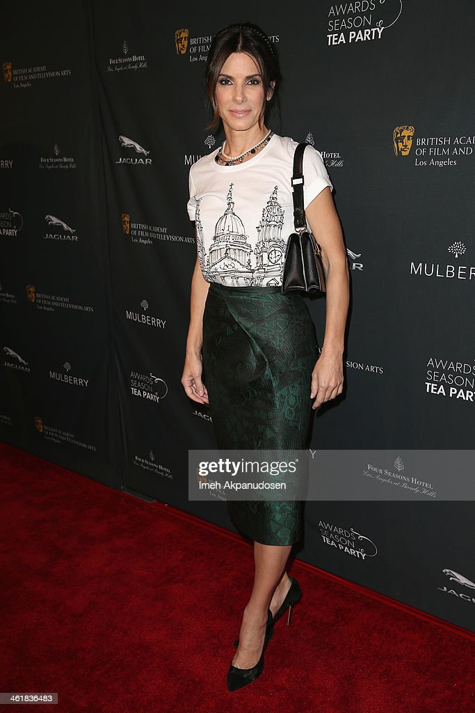 Actress <a gi-track='captionPersonalityLinkClicked' href=/galleries/search?phrase=Sandra+Bullock&family=editorial&specificpeople=202248 ng-click='$event.stopPropagation()'>Sandra Bullock</a> attends the BAFTA LA 2014 Awards Season Tea Party at the Four Seasons Hotel Los Angeles at Beverly Hills on January 11, 2014 in Beverly Hills, California.