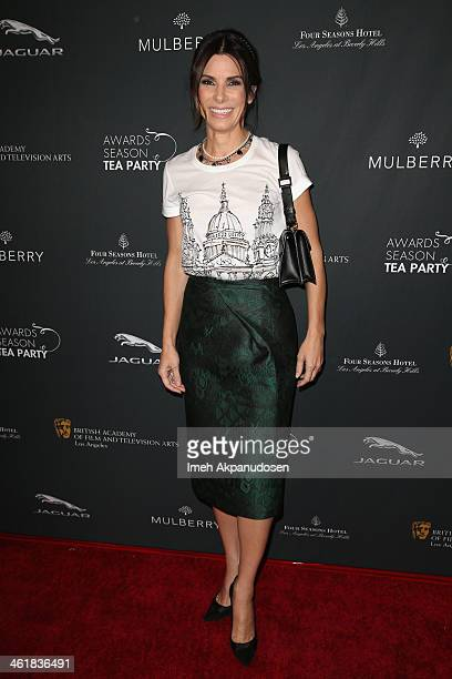 Actress Sandra Bullock attends the BAFTA LA 2014 Awards Season Tea Party at the Four Seasons Hotel Los Angeles at Beverly Hills on January 11 2014 in...