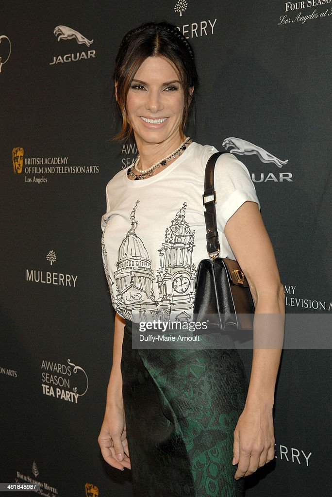 Actress <a gi-track='captionPersonalityLinkClicked' href=/galleries/search?phrase=Sandra+Bullock&family=editorial&specificpeople=202248 ng-click='$event.stopPropagation()'>Sandra Bullock</a> attends the BAFTA LA Awards Season Tea Party with Mulberry at the Four Seasons Hotel Los Angeles at Beverly Hills on January 11, 2014 in Beverly Hills, California.
