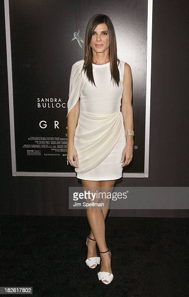 Actress Sandra Bullock attends the 'Gravity' premiere at AMC Lincoln Square Theater on October 1 2013 in New York City