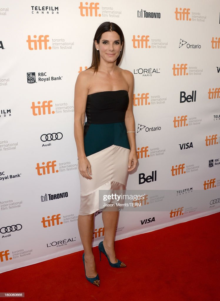 Actress <a gi-track='captionPersonalityLinkClicked' href=/galleries/search?phrase=Sandra+Bullock&family=editorial&specificpeople=202248 ng-click='$event.stopPropagation()'>Sandra Bullock</a> attends the 'Gravity' premiere during the 2013 Toronto International Film Festival at Princess of Wales Theatre on September 8, 2013 in Toronto, Canada.
