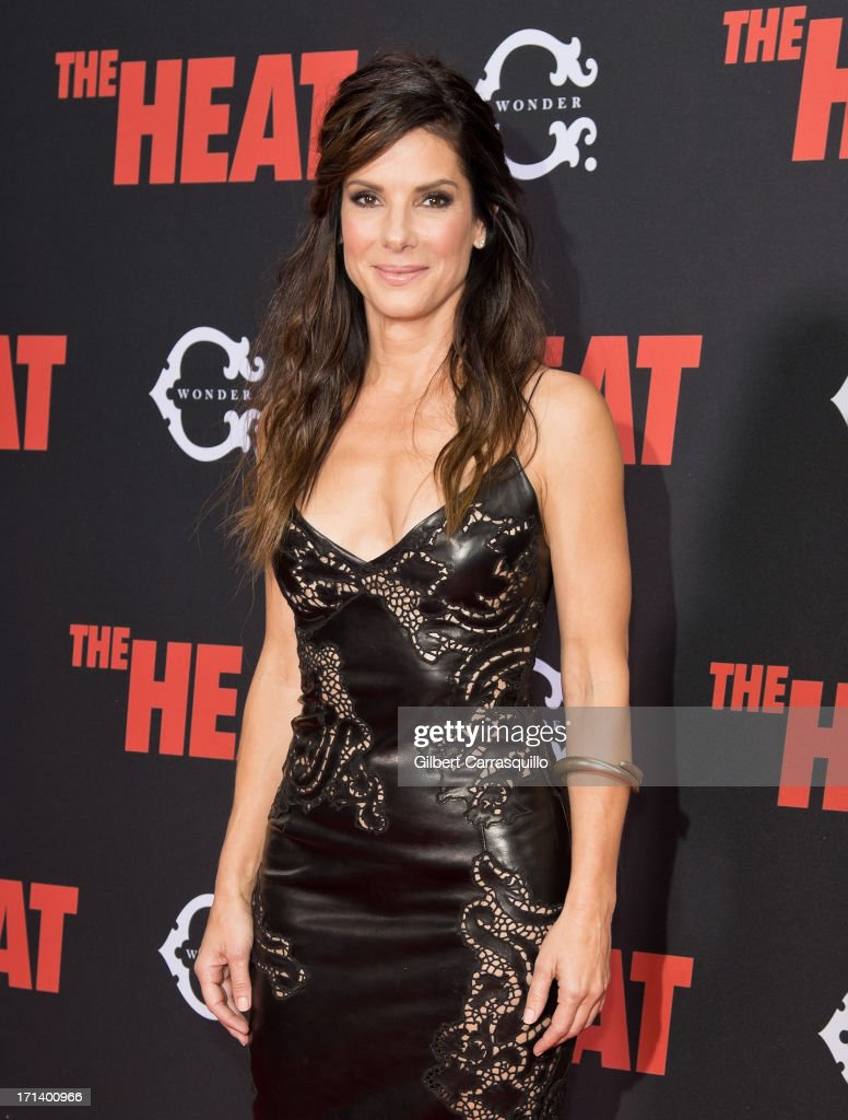 Actress <a gi-track='captionPersonalityLinkClicked' href=/galleries/search?phrase=Sandra+Bullock&family=editorial&specificpeople=202248 ng-click='$event.stopPropagation()'>Sandra Bullock</a> attends 'The Heat' premiere at the Ziegfeld Theatre on June 23, 2013 in New York City.