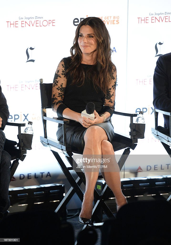 Actress <a gi-track='captionPersonalityLinkClicked' href=/galleries/search?phrase=Sandra+Bullock&family=editorial&specificpeople=202248 ng-click='$event.stopPropagation()'>Sandra Bullock</a> attends the L.A. Times Envelope Screening Series and Q&A of 'Gravity' at ArcLight Sherman Oaks on November 7, 2013 in Sherman Oaks, California.