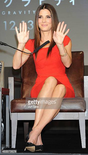 Actress Sandra Bullock attends the press conference for 'Gravity' at the Grand Hyatt on December 4 2013 in Tokyo Japan