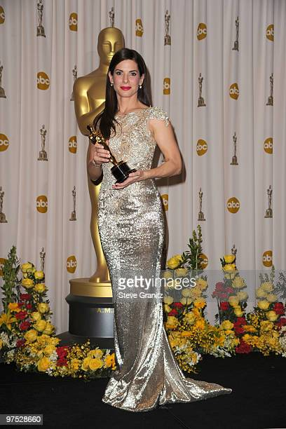 Actress Sandra Bullock poses in the press room at the 82nd Annual Academy Awards held at the Kodak Theatre on March 7 2010 in Hollywood California