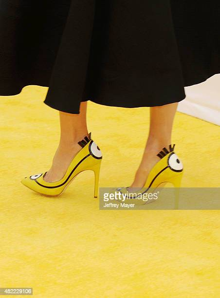 Actress Sandra Bullock shoe detail at the premiere of Universal Pictures and Illumination Entertainment's 'Minions' at The Shrine Auditorium on June...