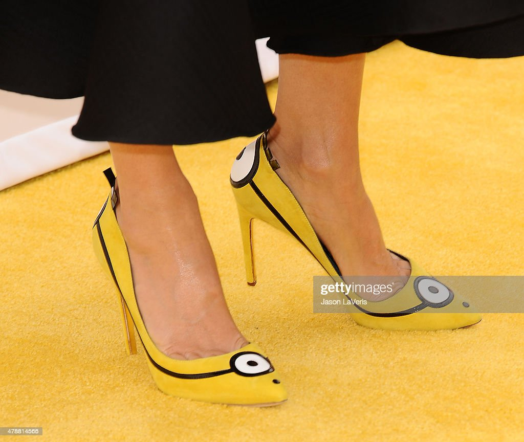 Actress Sandra Bullock, shoe detail, attends the premiere of 'Minions' at The Shrine Auditorium on June 27, 2015 in Los Angeles, California.