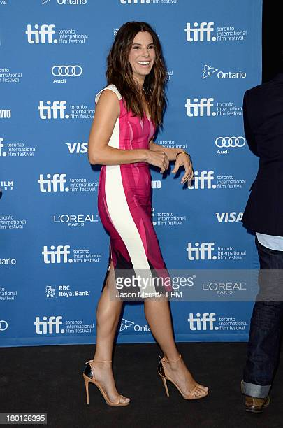 Actress Sandra Bullock speaks onstage at 'Gravity' Press Conference during the 2013 Toronto International Film Festival at TIFF Bell Lightbox on...