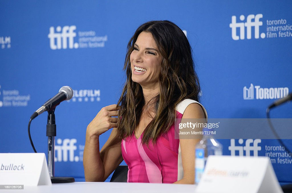 Actress <a gi-track='captionPersonalityLinkClicked' href=/galleries/search?phrase=Sandra+Bullock&family=editorial&specificpeople=202248 ng-click='$event.stopPropagation()'>Sandra Bullock</a> speaks onstage at 'Gravity' Press Conference during the 2013 Toronto International Film Festival at TIFF Bell Lightbox on September 9, 2013 in Toronto, Canada.