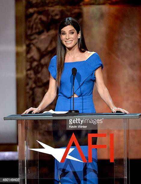 Actress Sandra Bullock speaks onstage during the 2014 AFI Life Achievement Award A Tribute to Jane Fonda at the Dolby Theatre on June 5 2014 in...