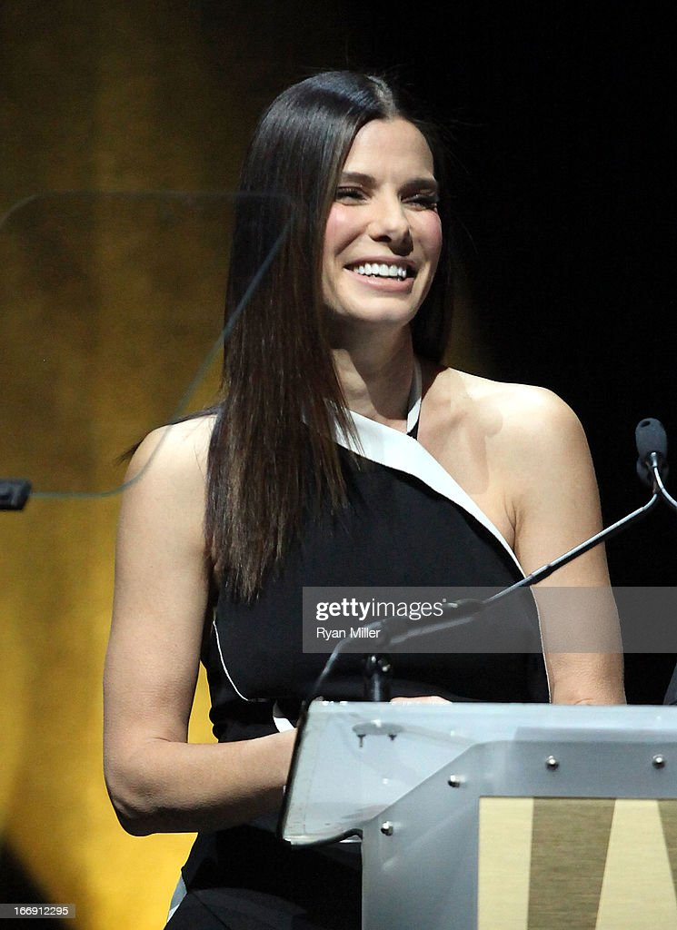Actress <a gi-track='captionPersonalityLinkClicked' href=/galleries/search?phrase=Sandra+Bullock&family=editorial&specificpeople=202248 ng-click='$event.stopPropagation()'>Sandra Bullock</a> speaks onstage during the 20th Century Fox Cinemacon Press Conference at Caesars Palace during CinemaCon, the official convention of the National Association of Theatre Owners on April 18, 2013 in Las Vegas, Nevada.