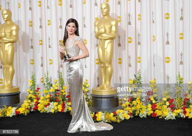 Actress Sandra Bullock winner Best Actress award for 'The Blind Side' poses in the press room at the 82nd Annual Academy Awards held at Kodak Theatre...