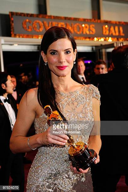 Actress Sandra Bullock winner Best Actress award for 'The Blind Side' attends the 82nd Annual Academy Awards Governor's Ball held at Kodak Theatre on...