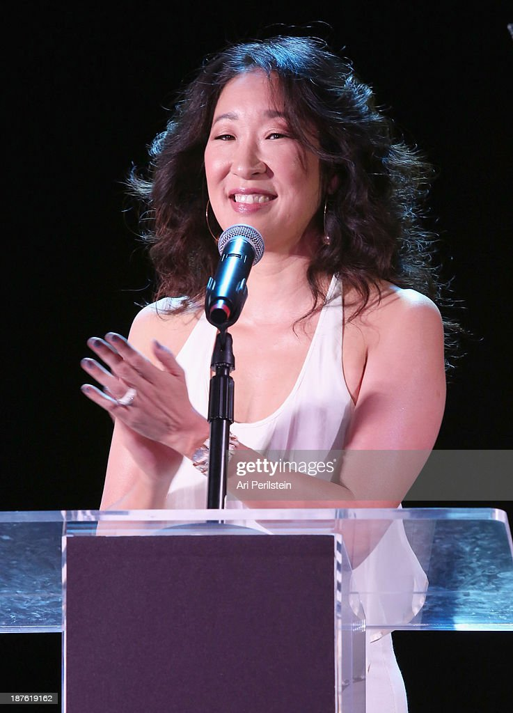 Actress <a gi-track='captionPersonalityLinkClicked' href=/galleries/search?phrase=Sandra+Oh&family=editorial&specificpeople=203096 ng-click='$event.stopPropagation()'>Sandra Oh</a> speaks onstage during the Hamilton and Los Angeles Confidential Magazine's announcement of the 7th Annual Hamilton Behind The Camera Awards at The Wilshire Ebell Theatre on November 10, 2013 in Los Angeles, California.