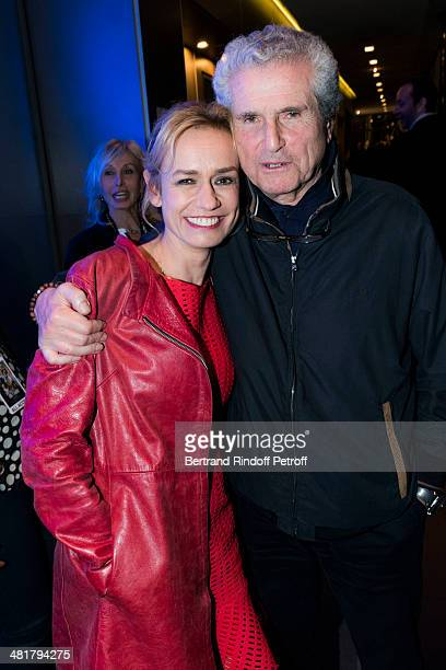 Actress Sandrine Bonnaire and director Claude Lelouch poses during the premiere of 'Salaud on t'aime' directed by director Claude Lelouch at Cinema...
