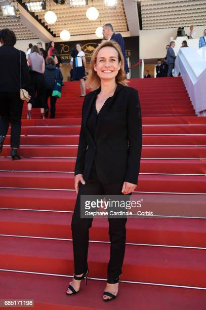 Actress Sandrine Bonnaire attends the 'Faces Places ' screening during the 70th annual Cannes Film Festival at Palais des Festivals on May 19 2017 in...