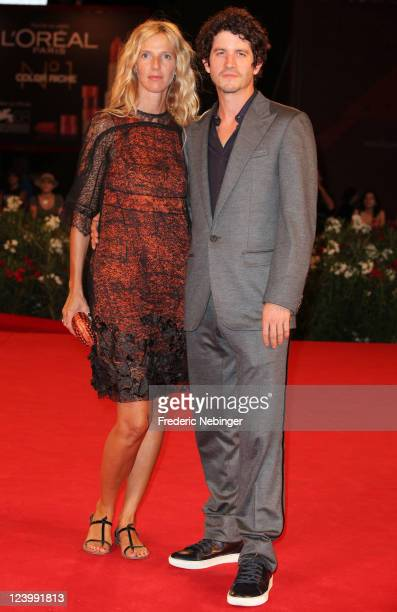 Actress Sandrine Kiberlain and Clement Sibony attend the 'L'Oiseau' premiere during the 68th Venice Film Festival at Palazzo del Cinema on September...
