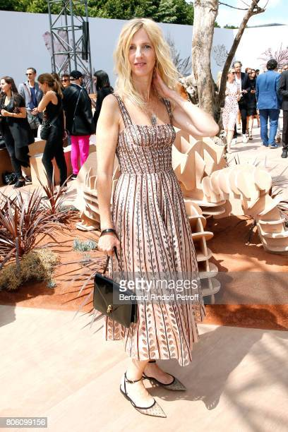 Actress Sandrine Kiberlain attends the Christian Dior Haute Couture Fall/Winter 20172018 show as part of Haute Couture Paris Fashion Week on July 3...