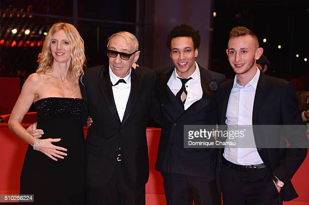 Actress Sandrine Kiberlain director Andre Techine actors Corentin Fila and Kacey Mottet Klein attend the 'Being 17' premiere during the 66th...