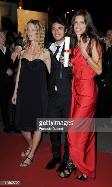 Actress Sandrine Kiberlainactor Jeremie Elkaim and Maiwenn Le Besco attend the Palme D'Or Winners Dinner at the Palais des Festivals during the 64th...