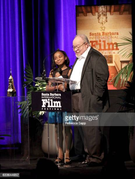 Actress Saniyya Sidney and actor Stephen Henderson attendthe Maltin Modern Master Award tribute during the 32nd Santa Barbara International Film...