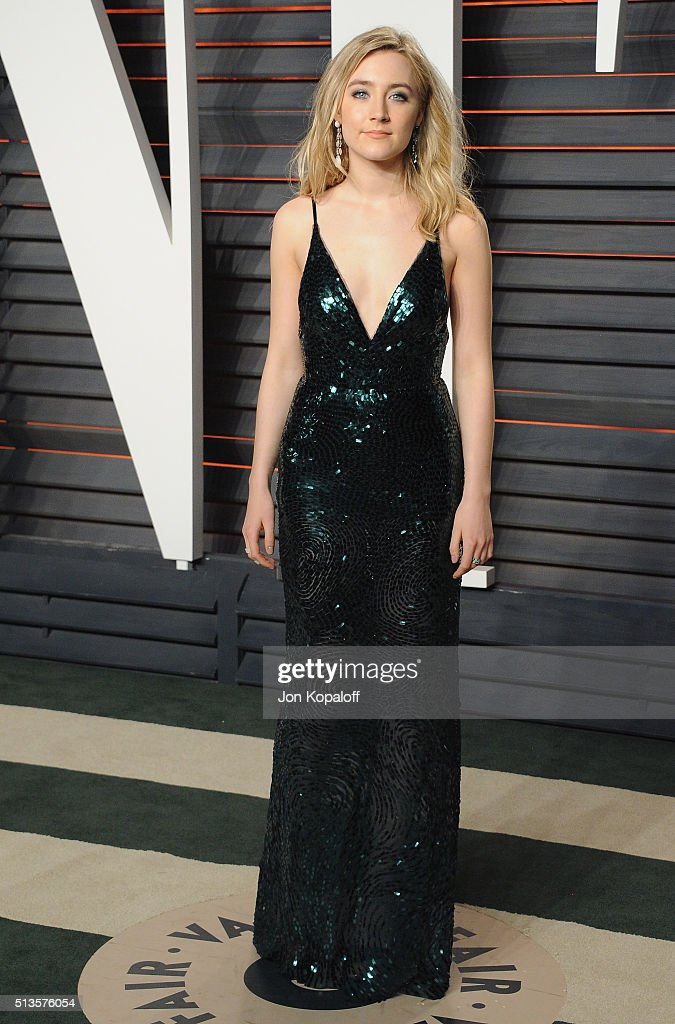 Actress Saoirse Ronan arrives at the 2016 Vanity Fair Oscar Party Hosted By Graydon Carter at Wallis Annenberg Center for the Performing Arts on...