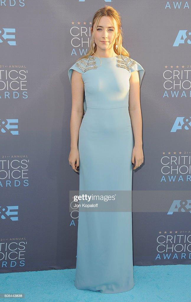 Actress Saoirse Ronan arrives at The 21st Annual Critics' Choice Awards at Barker Hangar on January 17 2016 in Santa Monica California