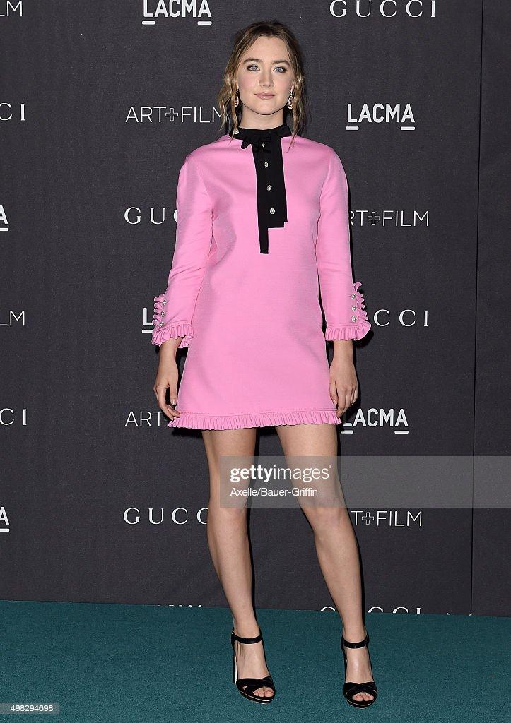 Actress Saoirse Ronan arrives at the LACMA 2015 ArtFilm Gala Honoring James Turrell And Alejandro G Inarritu Presented By Gucci at LACMA on November...